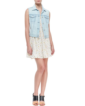 Classic Denim Vest & Hudette Silk Bug-Print Sleeveless Dress