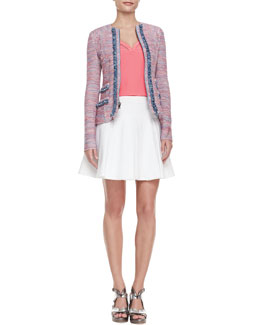 Nanette Lepore Sand Castle Trimmed Tweed Jacket, Tiki Perforated-Trim Sleeveless Top & Bliss Pleated Twill Full Skirt
