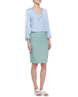 Nanette Lepore Luau Cutout-Trim Top & Orchid Printed Pencil Skirt