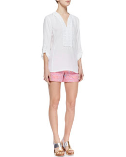 Nanette Lepore Jardin Crochet-Neck Poplin Top & Soiree Whimsical Embroidered Shorts