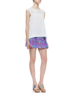 Nanette Lepore Take A Dip Cotton Top & Lush Floral-Print Pleated Skort