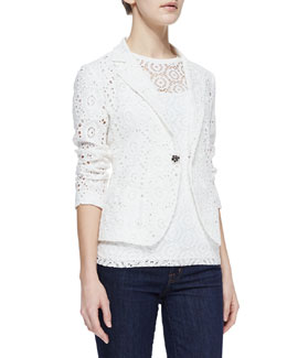 Nanette Lepore The Eyes Have It Eyelet Jacket & Short-Sleeve Lace Tee
