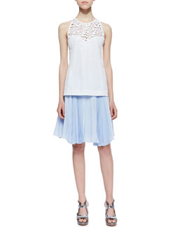 Nanette Lepore Terrace Crochet-Inset Sleeveless Top & Sunny Day Pleated Chiffon Skirt