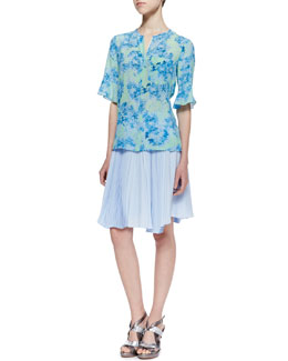 Nanette Lepore Cove Sassy Floral-Print Top & Sunny Day Pleated Chiffon Skirt