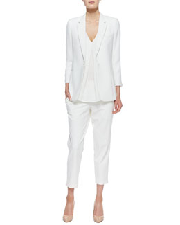 Theory Lousine Kuril Single-Button Blazer, Trent V-Neck Georgette Blouse & Kleon B Rhin Pants