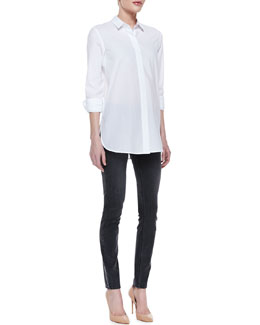 Theory Daithi Button-Down Blouse and Billy Grimsel Travel Skinny Jeans