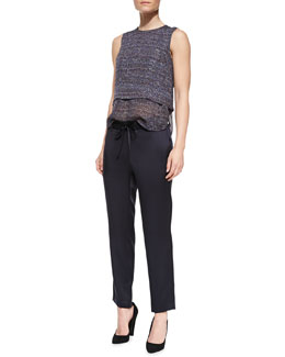 Theory Multi Tweed-Print Hodal C Silk Top & Vintage Satin Tie-Waist Pants