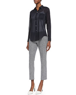 Theory Lawn Voile Button-Down Shirt & Item Cropped Tweed Pants