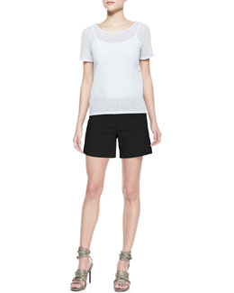 Theory Micro-Eyelet Short-Sleeve Top & Crunch Mid-Thigh Linen-Blend Shorts