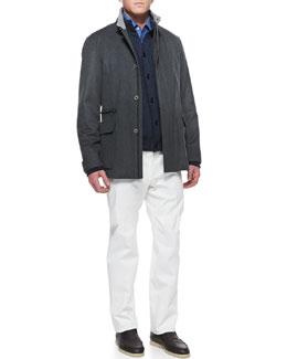 St. Germain Cashmere Jacket, Lightweight Cashmere Cardigan, Andre Button-Down Shirt & Four Pocket Cotton Pants