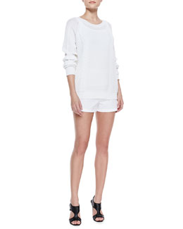 Theory Yaif Kalli Pullover Sweater and Summer Micro Twill Shorts