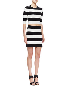 Theory Prosecco Harmona S Striped Crop Top and Prosecco Holeen S Striped Skirt