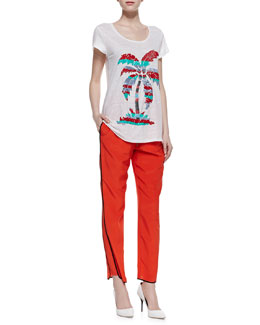 MARC by Marc Jacobs Island Time Sequined Slub Tee & Frances Crepe de Chine Track Pants