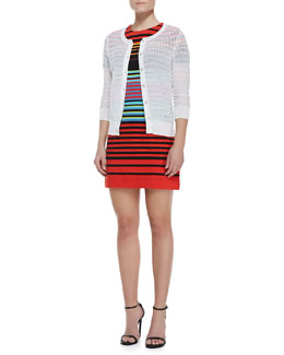 MARC by Marc Jacobs Rose See-Through Knit Cardigan & Paradise Striped Cotton-Jersey Dress