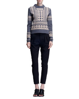 Chloe Stencil Jacquard Embroidered Sweater & Stretch Wool Canvas Pants