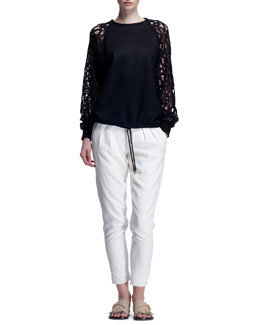 Chloe Milano Wool Sweater with Guipure Lace Sleeves & Light Cady Pants