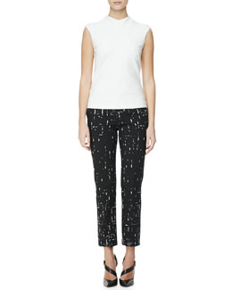 Narciso Rodriguez High-Neck Cap-Sleeve Blouse and Broken Stripes Straight-Leg Pants
