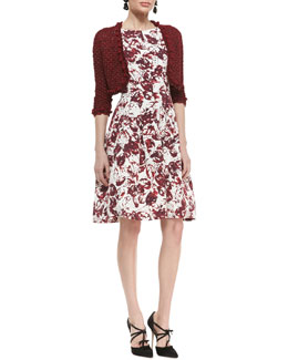 Oscar de la Renta Embroidered Knit Bolero Jacket and Sleeveless Full-Skirt Floral Dress