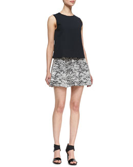 Theory Palatial Sleeveless Stretch-Cotton Top & Tweedscape A-Line Skirt