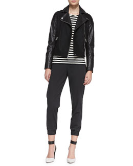 MARC by Marc Jacobs Karlie Leather/Crepe Moto Jacket, Pam Striped Long-Sleeve Tee & Samantha Pull-On Twill Pants