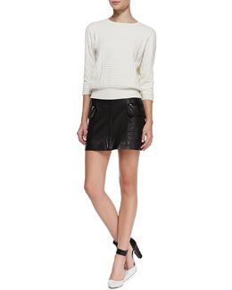 MARC by Marc Jacobs Lucinda Mix-Texture Knit Sweater & Karlie Side-Pocket Leather Miniskirt