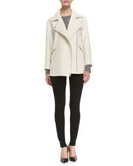 MARC by Marc Jacobs Eva Crepe Asymmetric Zip Jacket, Carmen Long-Sleeve Slub Tee & Stick Denim Jeans