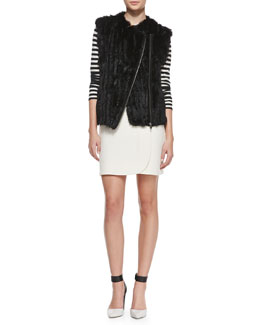 MARC by Marc Jacobs Abbey Asymmetric Rabbit Fur Vest & Eva Stretch Buckled Wrap Miniskirt