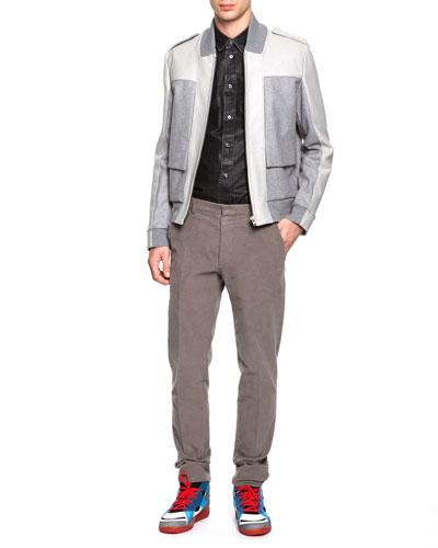 Mixed Media Bomber Jacket, Coated Poplin Button-Down Shirt & Slim Fit Moleskin Pants