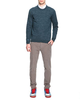 Maison Martin Margiela Crewneck Elbow Patch Sweater, Fine-Striped Button-Down Shirt & Slim Fit Moleskin Pants