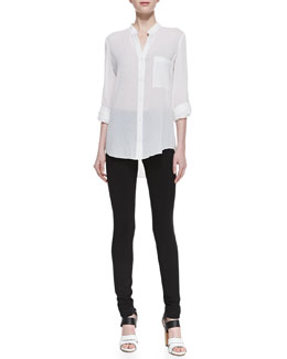 Diane von Furstenberg Gilmore Long Sleeve Translucent Blouse & Lupa Cropped Leggings