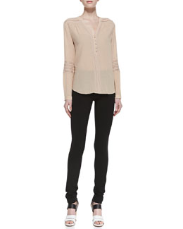 Diane von Furstenberg Gaylen Long Sleeve Knit Detail Blouse & Lupa Cropped Leggings