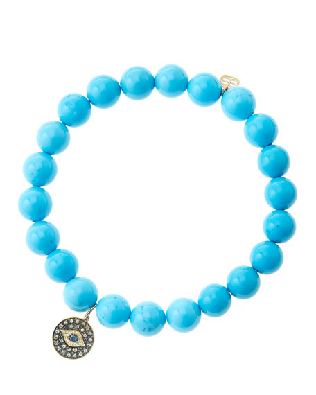 8mm Turquoise Beaded Bracelet with 14k Gold/Rhodium Diamond Small Evil Eye Charm (Made to Order)