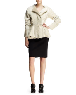 Lanvin Seamed Shearling Peplum Jacket and Bicolor Neoprene Pencil Skirt