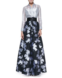 Carmen Marc Valvo Long-Sleeve Sheer Metallic Blouse & Pleated Floral-Print Ball Skirt