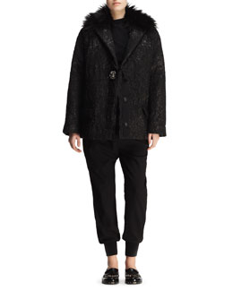 Lanvin Matelasse Crystal-Button Short Coat, Ruched Pin-Shoulder Top & Knit Harem Pants