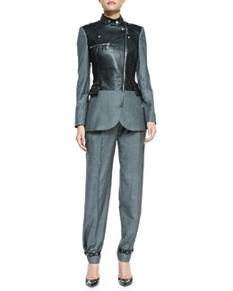 McQ Alexander McQueen Flannel/Leather Biker Blazer, Party Crop Top & Belted Pleated Trousers