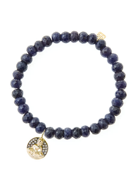 6mm Faceted Sapphire Beaded Bracelet with 14k Gold/Diamond Sitting Buddha Charm (Made to Order)