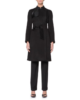 Giorgio Armani Obi-Belted Cashmere Coat with Leather Panels & Stretch Wool Cuffed Straight-Leg Pants