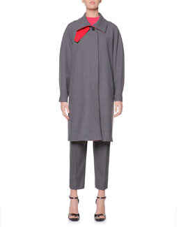 Giorgio Armani Double-Faced Gabardine A-Line Coat & Cashmere Azure Knitted Mock-Neck Sweater
