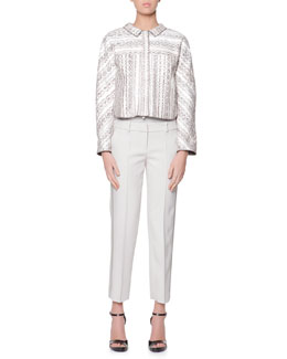 Giorgio Armani Snakeskin/Bonded Jersey Jacket, Cashmere Jersey Top & Satin Side-Striped Tailored Gabardine Pants
