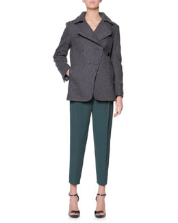Giorgio Armani Long-Sleeve Silk Blouse & Micro Pleat Silk Cady Ankle Pants