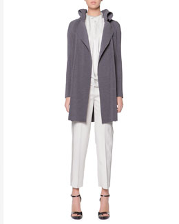 Giorgio Armani Plisse Exaggerated Lapel Jacket, Sleeveless Drape-Ascot Silk Top & Satin Side-Striped Tailored Gabardine Pants