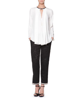 Giorgio Armani Leather-Buckled Silk Blouse & Boucle Pants with Ankle Slits