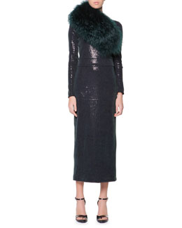 Giorgio Armani Curly Lamb Shearling Collar & Long-Sleeve Sequined Midi Dress