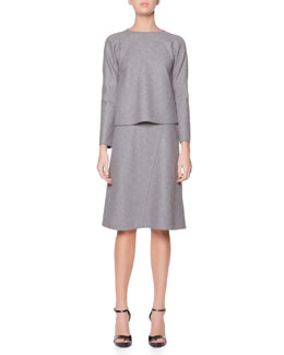 Giorgio Armani Long-Sleeve Stretch Jersey Top & Bias-Seamed Jersey Skirt