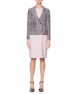 Giorgio Armani Sequined Boucle Shawl-Collar Jacket & Ruched-Shoulder Wide-Belted Sheath Dress