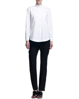 Poplin Tuxedo Bib Blouse and Side-Zipper Wool Pants
