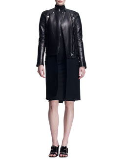 Wool/Leather Long Moto Coat and Fitted Zip-Shoulder Dress