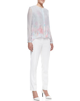 Elie Tahari Alejandra High-Low Print Blouse & Jillian Slim Cropped Pants