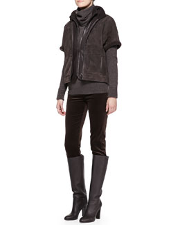 Loro Piana Hartfield Short-Sleeve Shearling Jacket, Central Park Leather Bomber Jacket, Cashmere Cowl-Neck Sweater & Mathias Matte Velvet Pants